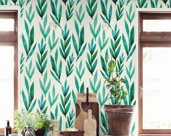 Acuarela verde hojas desmontable papel pintado, papel pintado auto-adhesivo, BW012