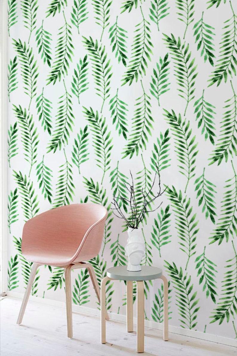 Fern leaves wallpaper Leaves pattern Tropical wall mural image 0