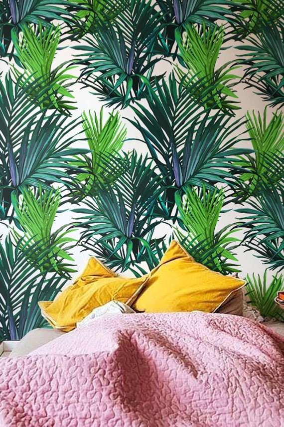 feuilles de palmier tropical papier peint d coration murale etsy. Black Bedroom Furniture Sets. Home Design Ideas