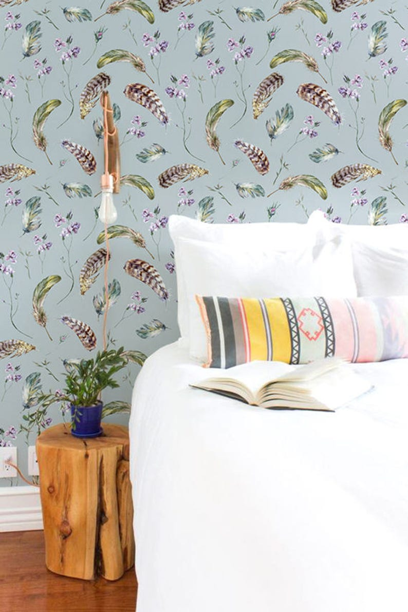 Vintage wallpaper Wall mural Feathers removable wallpaper image 0