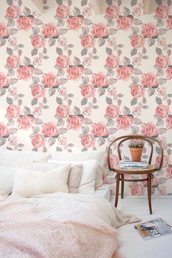 Flower Self Adhesive Wallpaper Floral Removable Wallpaper Etsy