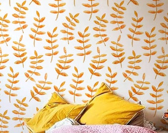Orange walnut leaves wallpaper , Boho wall sticker , Temporary Wallpaper, BW003