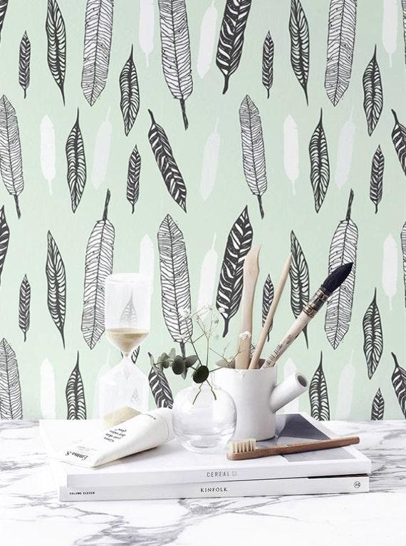 Feather Pattern Wallpaper Boho Removable Self