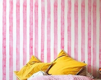 Watercolor wall mural, Tempoary wallpaper, Stripes pattern, BW019