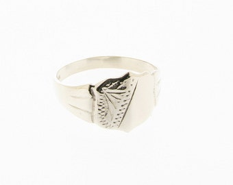 Sterling Silver Half Engraved Shield Signet Ring - UK Sizes P - T USA Sizes 7.5 - 9.5