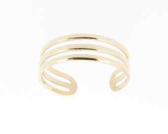 Solid 9ct Yellow Gold Triple Band Design Adjustable Toe Ring Boho Jewellery Fashion