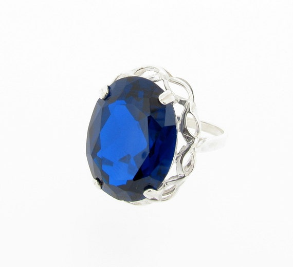 Sterling Silver Large Created Blue Spinel Dress Ring Uk Etsy