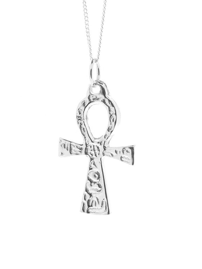 Sterling Silver Engraved Ankh Cross Pendant /& Chain Necklace Spiritual Symbol