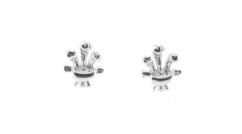 Sterling Silver Prince of Wales Feathers Design Stud Earrings