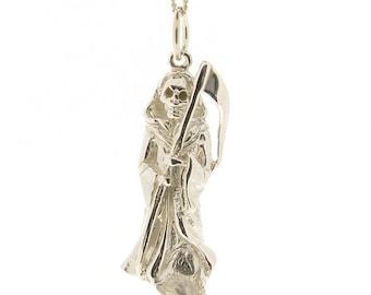 Sterling Silver Grim Reaper Pendant & Chain