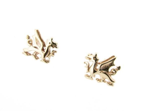 New Solid 9ct Gold Welsh Dragon Stud Earrings Butterfly Backs Gift Boxed