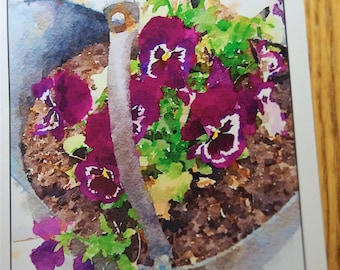 Pansies in Kettle Photo Note Cards  (Set of 6 cards and envelopes)