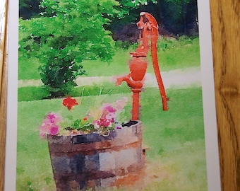 Well with whiskey barrel and flowers Photo Note Cards  (Set of 6 cards and envelopes)