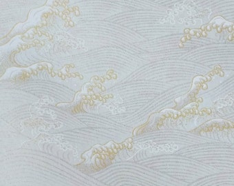 Origami Paper - Washi Paper - Yuzen Paper - Chiyogami Paper - Various Pack Sizes - Shimmer Silver & Gold Waves on White - #938