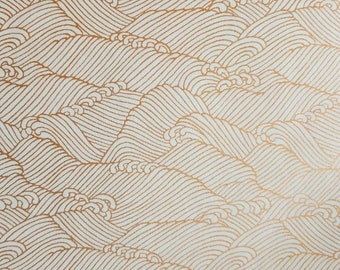 Origami Paper - Washi Paper - Yuzen Paper - Chiyogami Paper - Various Pack Sizes - Golden Waves on White - #1000