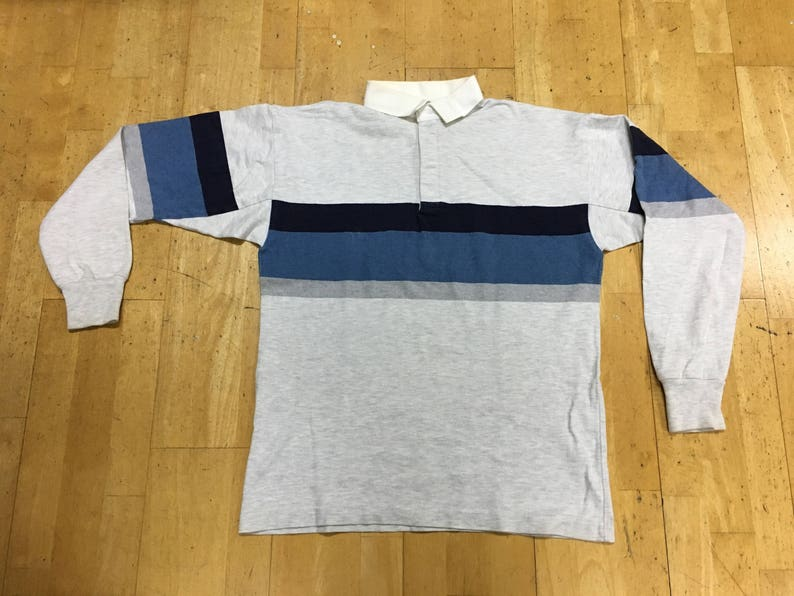 a81b653b8 LL Bean Rugby Polo Shirt Long Sleeve Size M Grey Blue Made in | Etsy