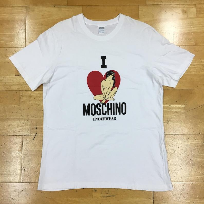 1e5bbbeb25e51 Moschino Underwear T-Shirt Size L White Made in Italy I Love