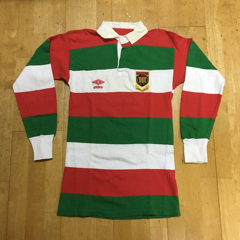 879a5da3cbc1e EBBW Vale RFC Rugby Polo Long Sleeve Shirt by Umbro Size 38 Red Green White  Made in England UK Vintage T