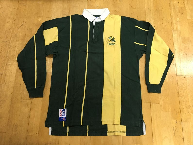 47b22c70ad01f Green Bay Packers Rugby Polo Long Sleeve Shirt by Rugby 1 NFL Team Size XL  Green Yellow Made in USA Vintage T