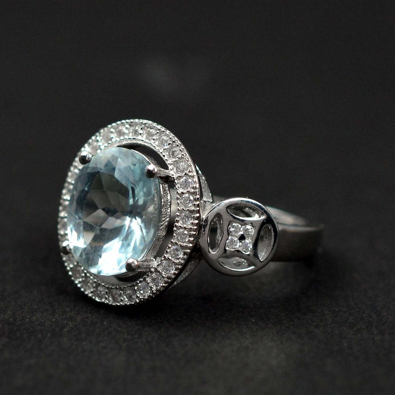 Unisex Ring 925 Silver Ring Natural Aquamarine Ring Cut Oval Aquamarine Jewelry Statement Ring Father/'s Day Gift Birthstone Ring