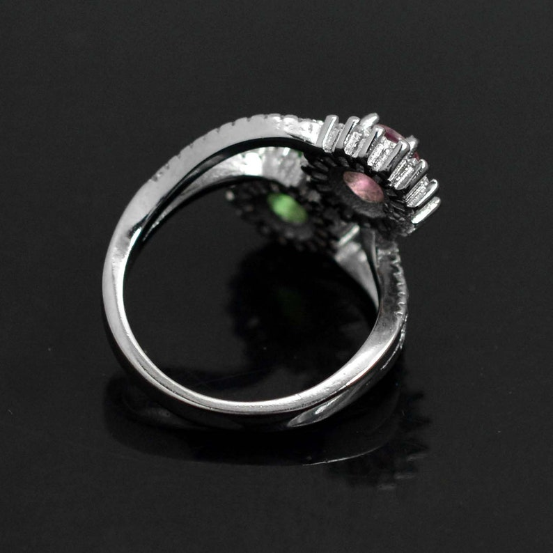 Tourmaline Jewelry Dual Stone Ring Natural Multi Tourmaline Ring Round Multi Tourmaline Engagement Ring 925 Silver Ring Gift for Her
