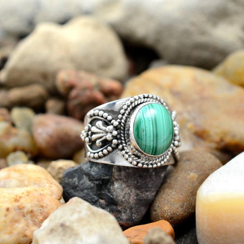 Healing Gemstone Gift for Her 925 Silver Ring Malachite Jewelry Natural Malachite Ring Oval Malachite Gemstone Designer Art Decor Ring