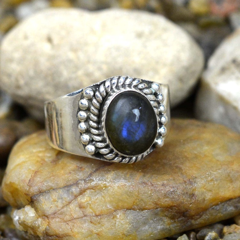 Handmade Ring Oval Cab Fire Labradorite Ring Sterling Silver Labradorite Ring Natural Labradorite Ring Gift For Mother 925 Silver Ring