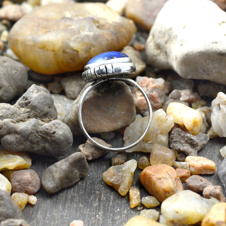 Handmade Ring Blue Stone Ring 925 Sterling Silver Jewelry Lapis Lazuli Ring Lapis Ring Boho Ring Oval Stone Ring Natural Gemstone