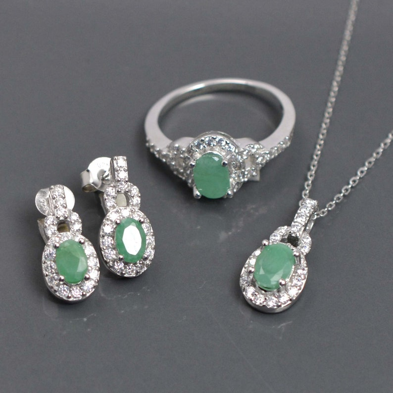 Emerald Gift For Her Emerald Cut Oval  Set Natural Emerald Jewelry Set Earring Ring Necklace Set 925 Silver Jewelry Emerald Jewelry