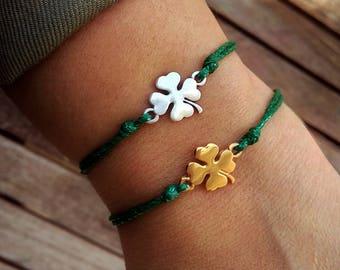 Four leaf clover bracelet Good luck gifts Lucky charm bracelet Wish bracelet Friendship bracelet Good luck bracelet Good luck charms