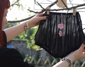 Women Underwear, women culottes, Culottes with crochet flowers, black underwear