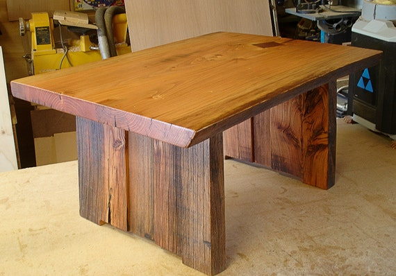 Live Edge Coffee Table With Slab Legs Weathered Wood Table   Etsy
