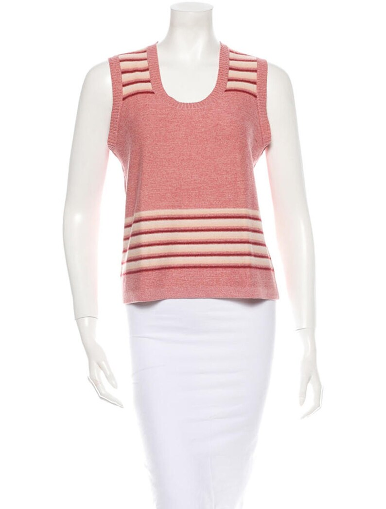 Sonia Rykiel pink and cream knit top