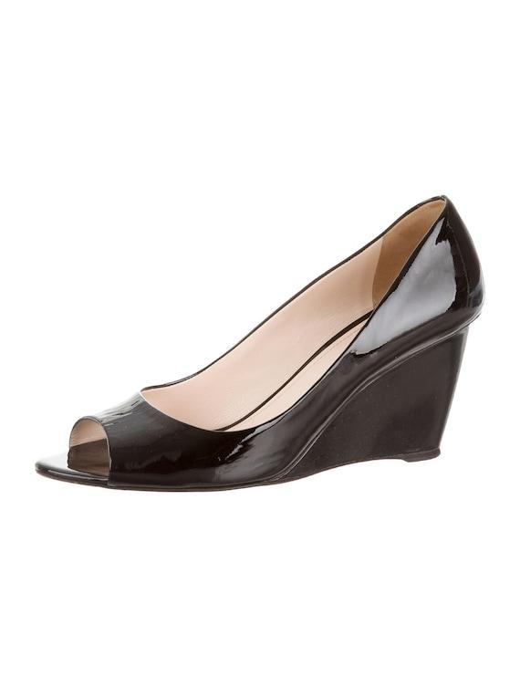 Prada peep-toe patent leather wedge US