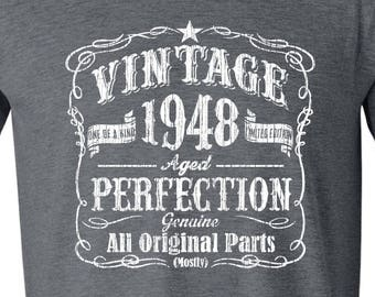 70th Birthday Gift For Man Seventieth Born In 1948 Vintage Grandfather GRAY T Shirt