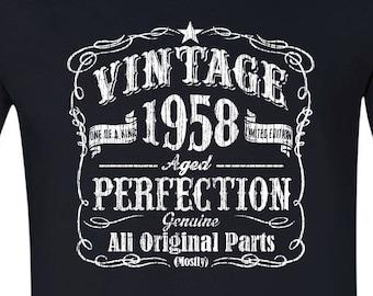 60 Birthday Tshirt Gift Born In 1958 Vintage BLACK Husband Sixtieth Shirt 60th For Him