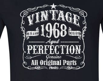 50th Birthday Gift Vintage 1968 Shirt 50 Tshirt Shirts For Men Ideas BLACK