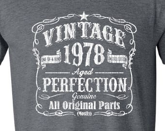 40th Birthday Gift For Men Vintage 1978 Aged Perfection T Shirt Idea GRAY Made In Fortieth