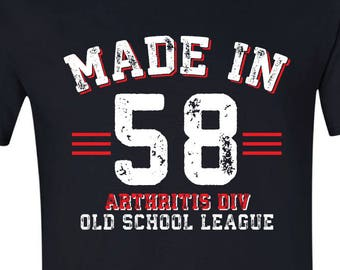 60th Birthday Tee 1958 Father Gift Old School Athletic Made In 58 Tshirt For Husband Grandfather Shirt