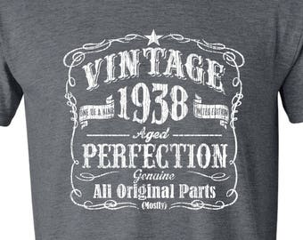 1938 Limited Edition 80th Birthday Party Shirt 80 Years Old For Him Vintage Year Tee GRAY