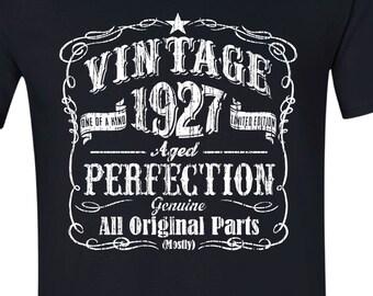 90th Birthday Gift Present Idea For 1927 Shirt 90 Yrs BLACK 1926