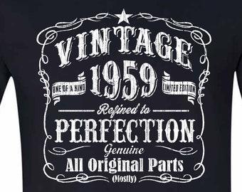 60 Birthday Tshirt Gift Born In 1959 Vintage BLACK Husband Sixtieth Shirt 60th For Him