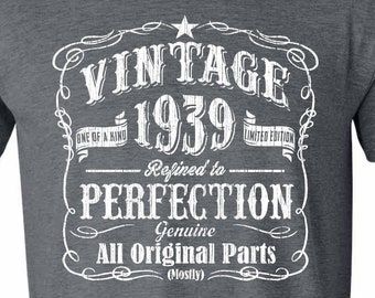 1939 Limited Edition 80th Birthday Party Shirt 80 Years Old For Him Vintage Year Tee GRAY
