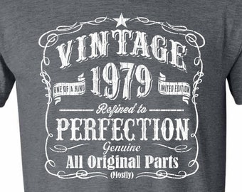 40th Birthday Gift For Men Vintage 1979 Aged Perfection T Shirt Idea GRAY Made In Fortieth