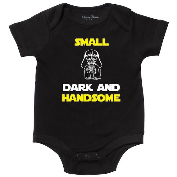 Star Wars Onesie Bodysuit Shirt Funny Shower Gift Vader Small Dark /& Handsome