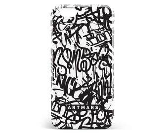 Hull Graffiti. PVC. iPhone 4, 4s, 5, 5s, SE, 5 c, 6, 6, 6 Plus 6s Plus, 7 and 7 more, illustration, design, lettering, pop, black, white