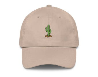 Cactus patch Cap. Unisex. 100% cotton. Hat, baseball, snapback, embroidered, embroidery, desert, summer, french riviera, arty, minimalist
