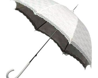 Victorian Traditional Type White Delicate Lace Umbrella ideal for Weddings
