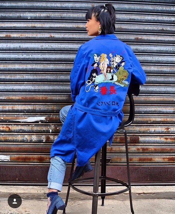 bosozoku jacket embroidered vintage blue overall etsy
