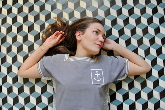 Top women in grey  cotton  - Marina 30s top grey